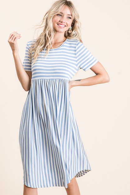 CASUAL STRIPE MIDI DRESS  - orangeshine.com