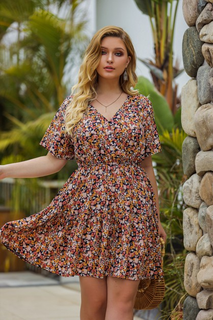women  v neck plus size dress - orangeshine.com