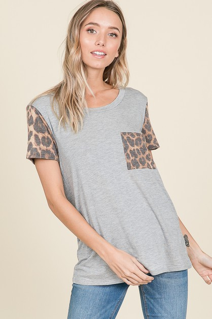 ANIMAL PRINT SLEEVE AND POCKET TOP - orangeshine.com
