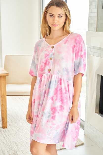 Short Sleeve Tie Dye Knit Dress - orangeshine.com