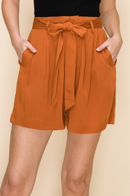 HIGH WAIST PAPERBAG SHORTS - orangeshine.com