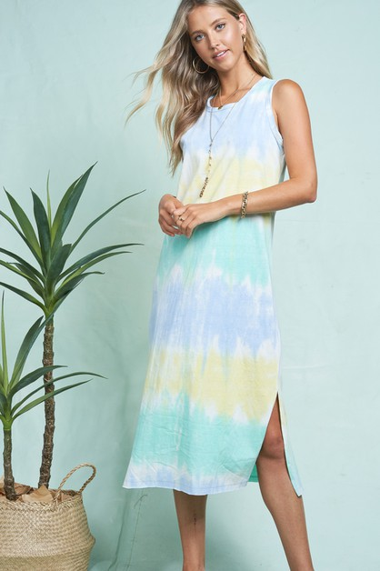 TIE DYE TANK SLEEVELESS DRESS - orangeshine.com