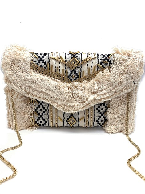 Cloud Gold Embellished Clutch - orangeshine.com