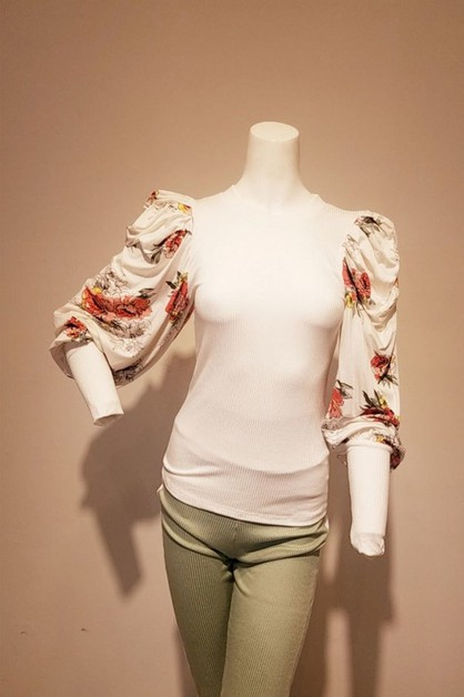 Solid long sleeve top with floral co - orangeshine.com