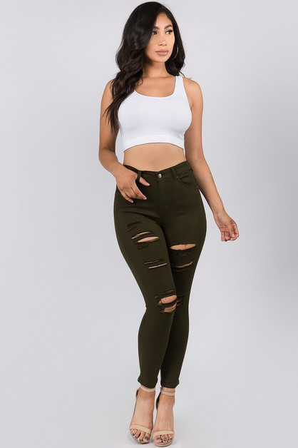 HIGH WAIST DISTRESSED SKINNY JEANS - orangeshine.com