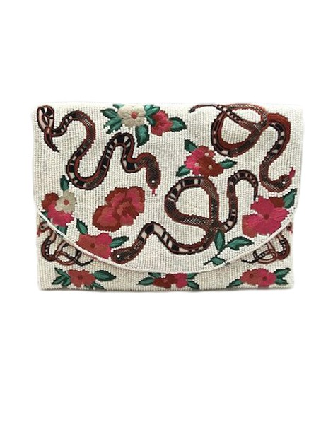 Flower Snake Pattern Bead Clutch Bag - orangeshine.com