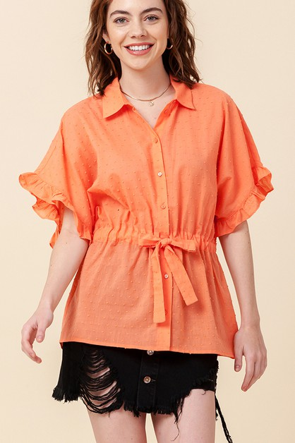 SWISS DOT TOP WITH WAIST TIE - orangeshine.com