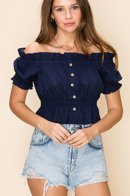 RUFFLE OFF SHOULDER CROPPED TOP - orangeshine.com