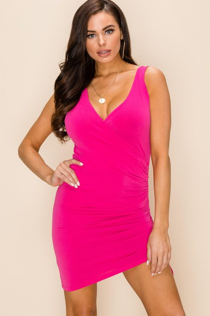 WRAP FRONT RUCHED SIDE BODYCON DRESS - orangeshine.com