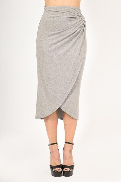HIGH-RISE KNIT MIDI SKIRT WITH WRAPP - orangeshine.com