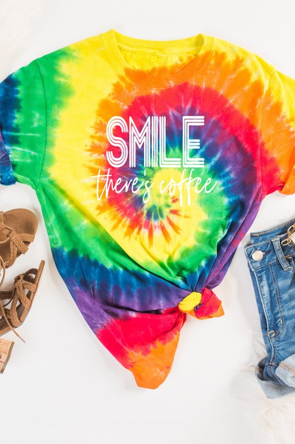 Smile Theres Coffee Tie Dye Tee - orangeshine.com