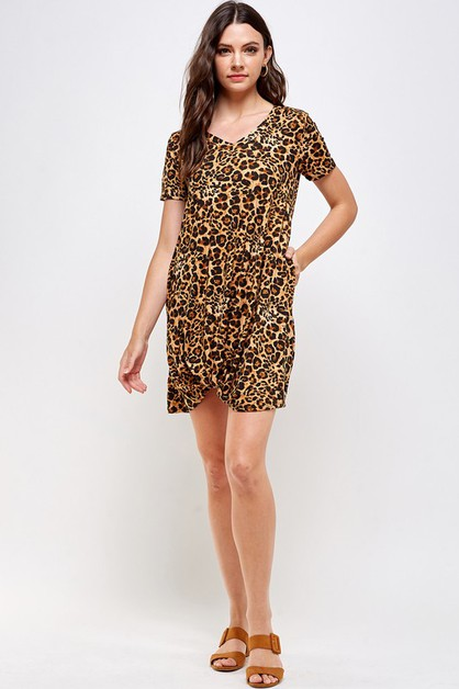 LEOAPRD PRINT V-NECK FRONT TIE DRESS - orangeshine.com