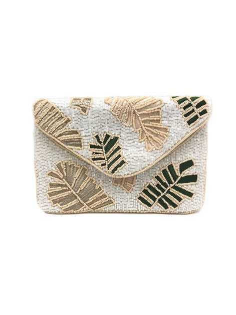 Leaf Beaded Clutch Bag LMC-221 - orangeshine.com