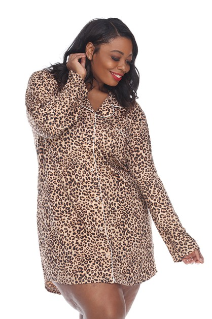 Plus Size Long Sleeve Nightgown - orangeshine.com