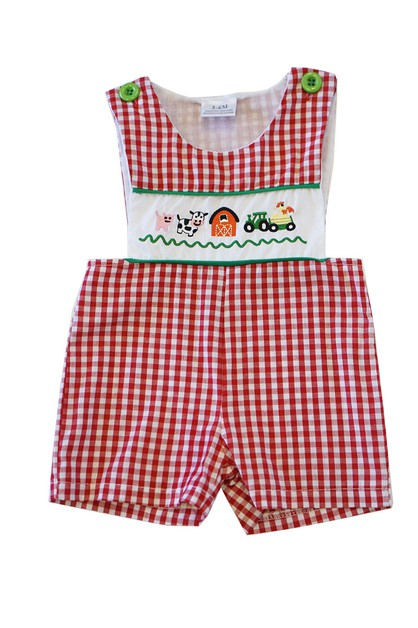 Red gingham farm animals embroidery  - orangeshine.com