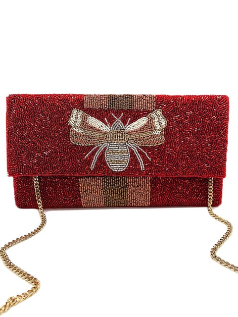 BEE-You Striped Beaded Clutch Bag - orangeshine.com