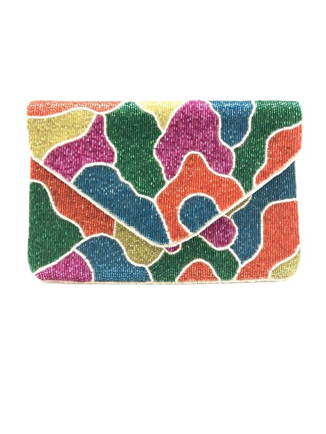 Animal Print Beaded Clutch Bag  - orangeshine.com