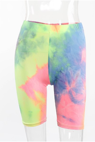 tie-dye  slim yoga shorts - orangeshine.com