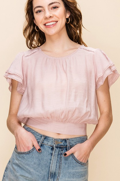 CROP TOP WITH LAYERED SLEEVES - orangeshine.com