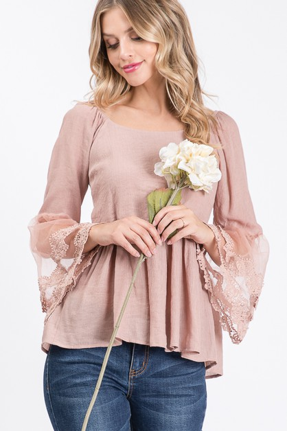 Kayla`s Floral Lace Bell Sleeve Top - orangeshine.com