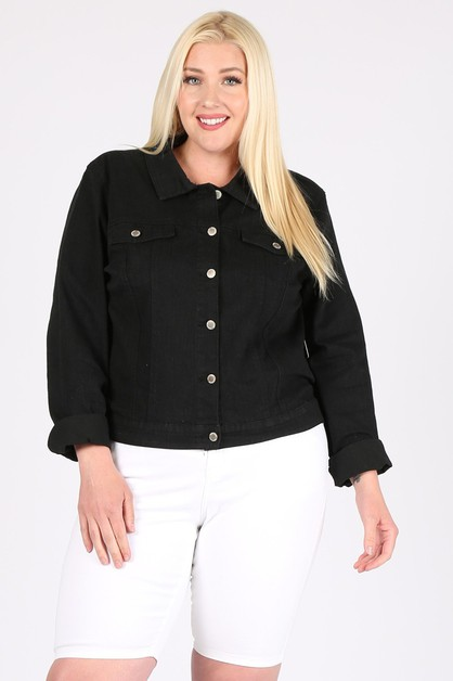 Plus Size Black Cropped Denim Jacket - orangeshine.com