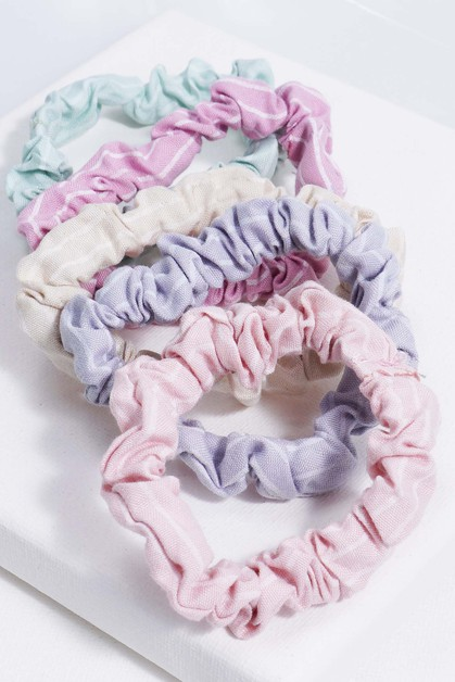 Printed Striped Scrunchie - orangeshine.com
