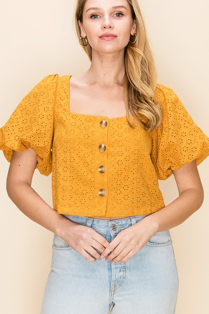 SQUARE NECK SMOCK BACK PUFF SLEEVE - orangeshine.com