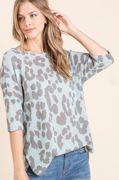 ANIMAL PRINT WAFFLE KNIT TUNIC - orangeshine.com