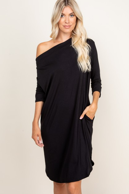 SOLID QUARTER SLEEVE DRESS - orangeshine.com