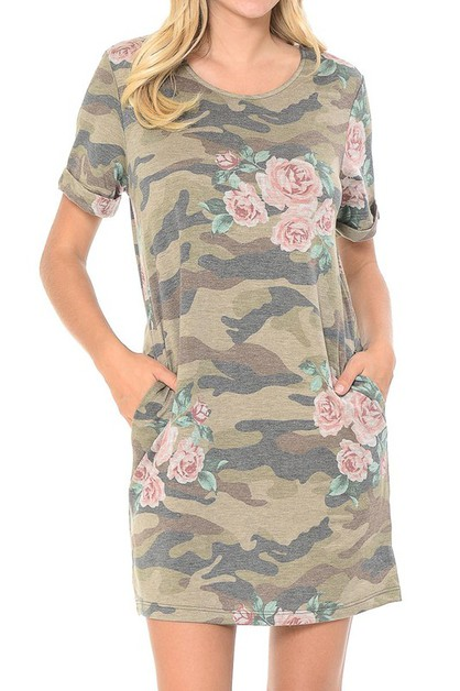 FLORAL CAMOUFLAGE PRINT CASUAL DRESS - orangeshine.com