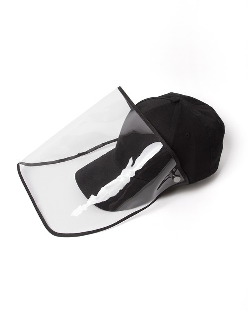 Black Baseball Cap Face Shield - orangeshine.com