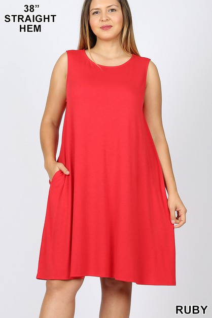 PLUS FLARED DRESS WITH SIDE POCKETS - orangeshine.com
