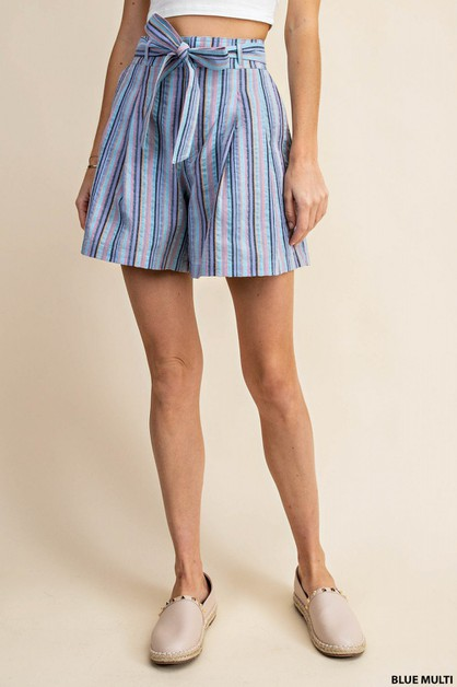 MULTI STRIPE PLEATS SHORTS - orangeshine.com