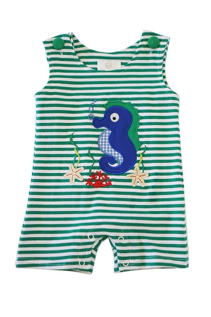 Green seahorse applique boy jonjon - orangeshine.com