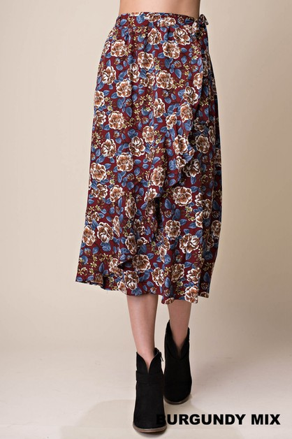 FLORAL PRINTED FRONT LAYED SKIRT - orangeshine.com