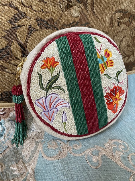 Circle Floral Beaded Crossbody Bag - orangeshine.com