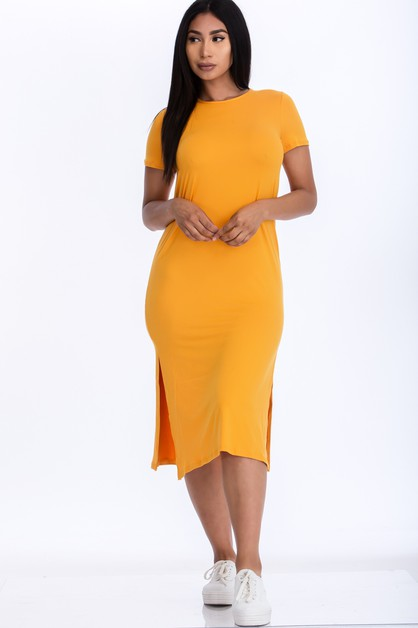 Side Slit Comfy Dress - orangeshine.com