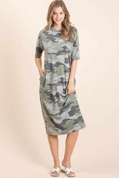 CAMO PRINT SHORT SLEEVE MIDI DRESS  - orangeshine.com