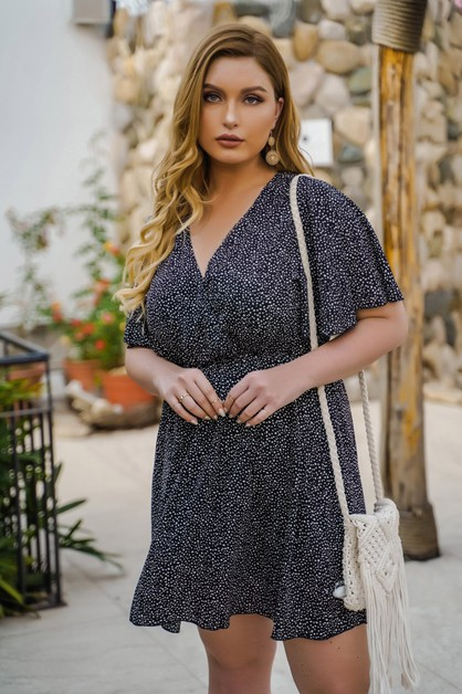 women v neck plus size midi dress - orangeshine.com