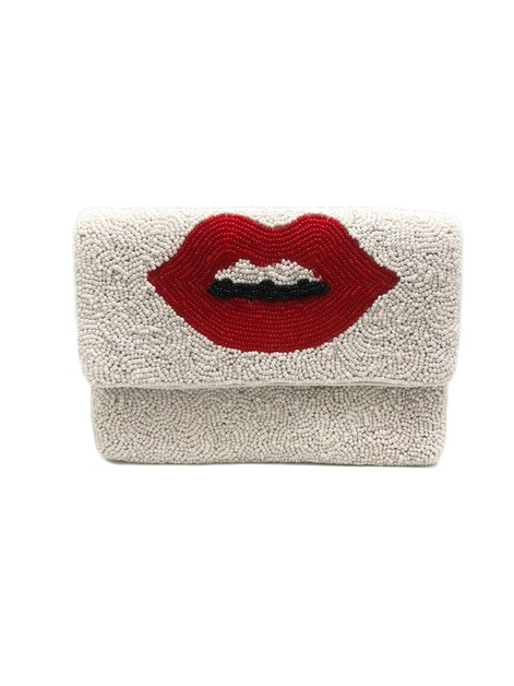 Red Lips Beaded Clutch Bag  - orangeshine.com