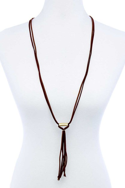 LEATHER STRING TIE LONG NECKLACE - orangeshine.com