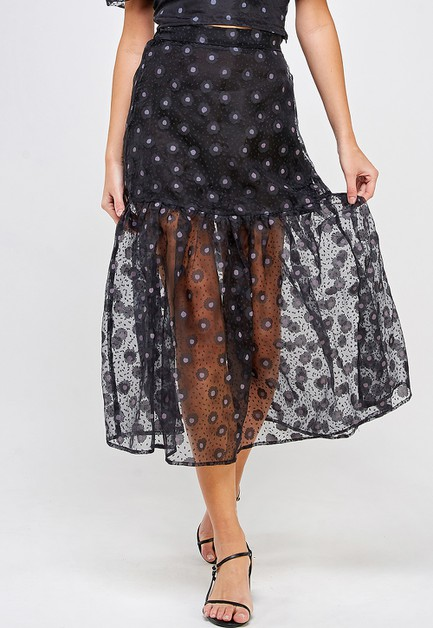 BURNOUT FLORAL SKIRT - orangeshine.com