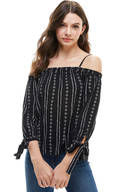 Cold Shoulder Striped Blouse - orangeshine.com
