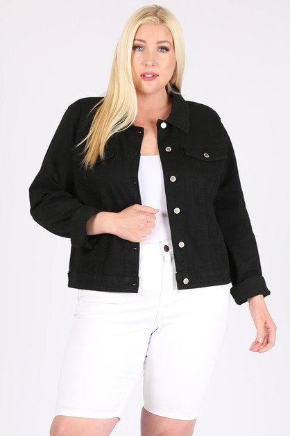 Plus Size Solid Cropped Denim Jacket - orangeshine.com