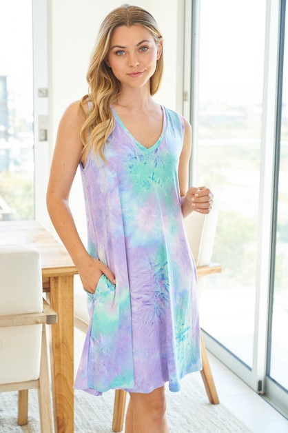 Sleeveless Tie Dye Knit Dress - orangeshine.com