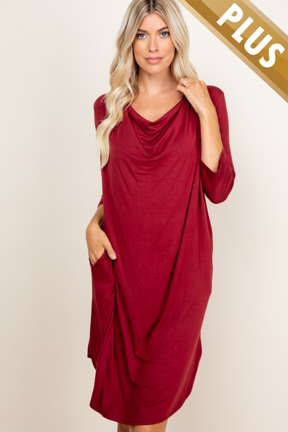 PLUS SIZE SOLID LOOSE FIT DRESS - orangeshine.com