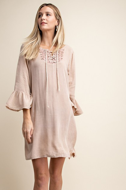 WASHED  FRILL SLEEVE SHIFT DRESS - orangeshine.com