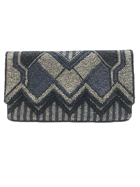 ZIG ZAG Grey Beaded Clutch - orangeshine.com