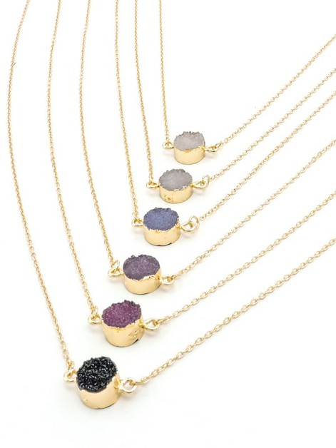 Darkstone Druzy Delicate Necklace - orangeshine.com