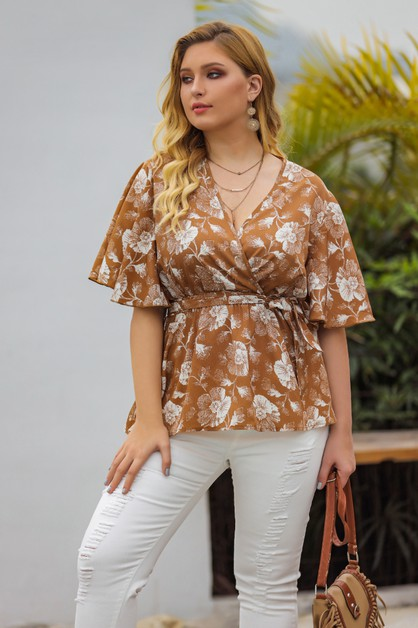 lotus leaf printed short sleeve top - orangeshine.com